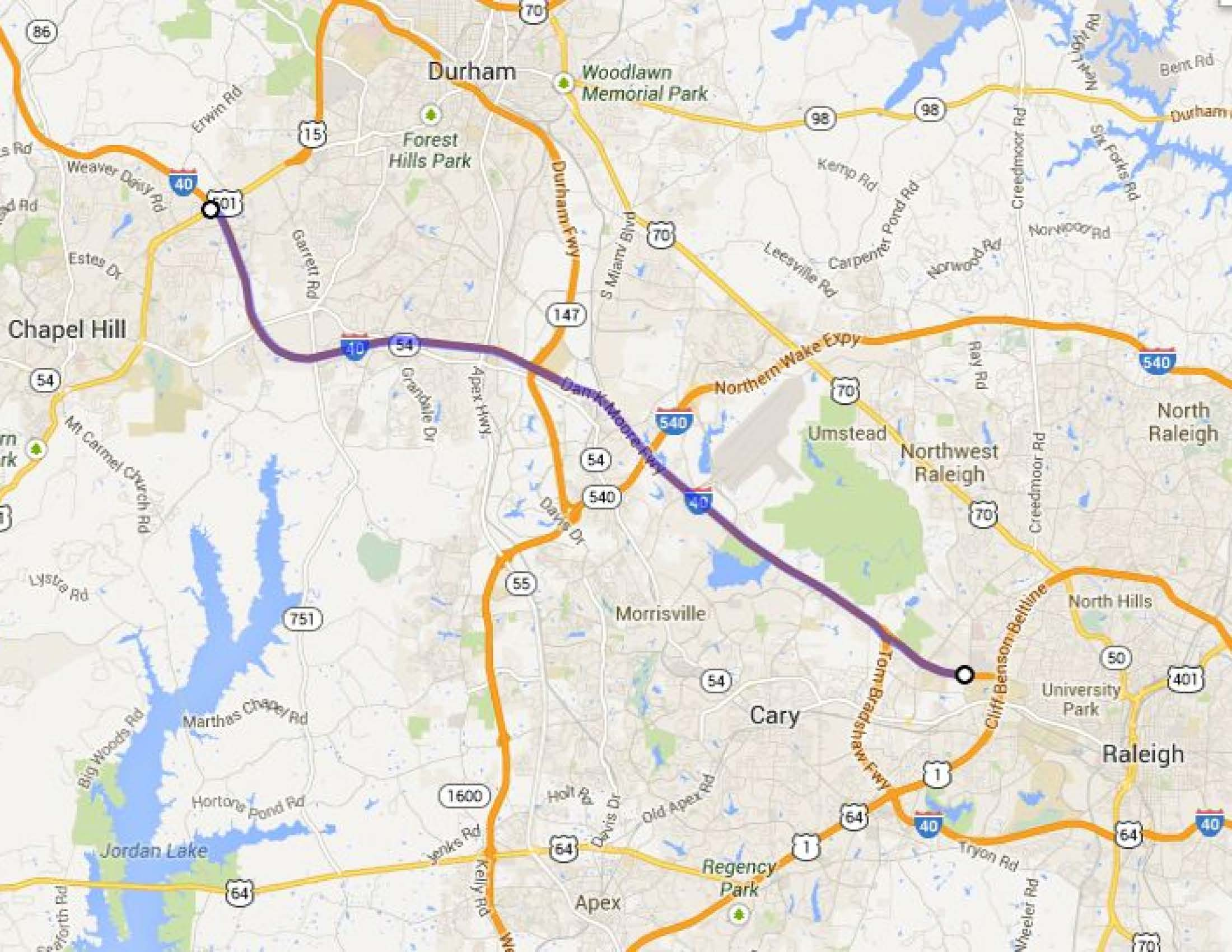 Project Example Triangle Transit Bus On Shoulder System - Us i 40 map